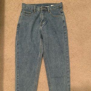 Denim straight leg jeans. XXS. Runs a little short